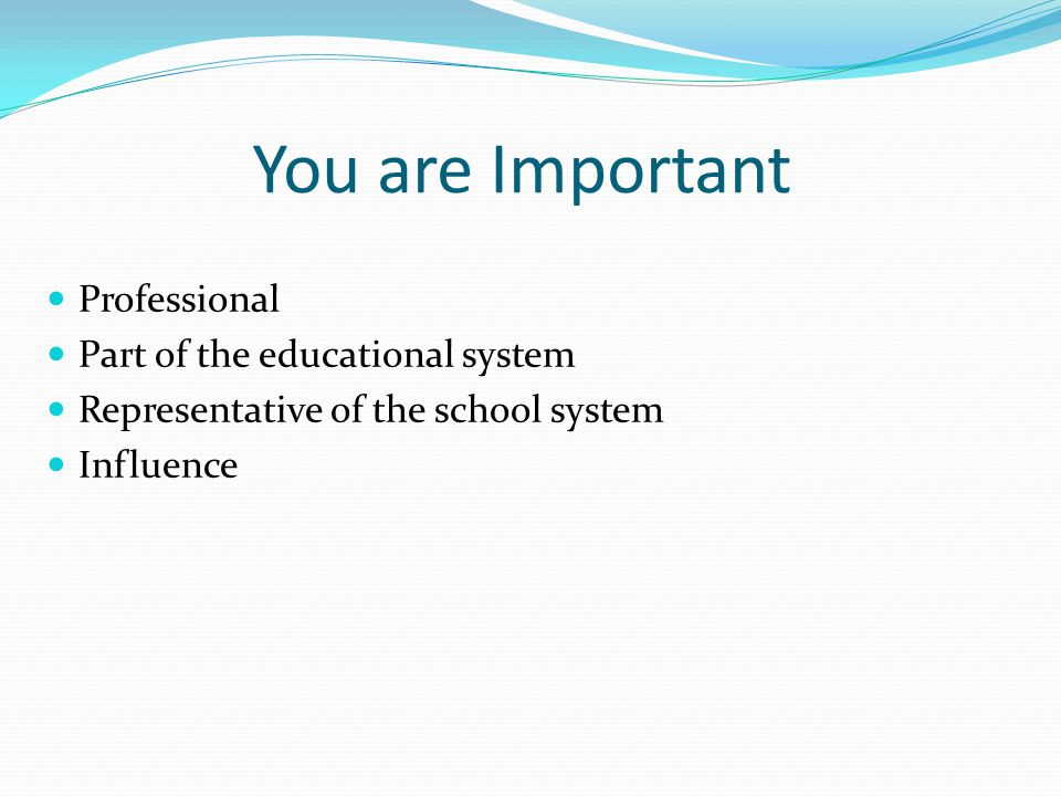 You are Important Professional Part of the educational system