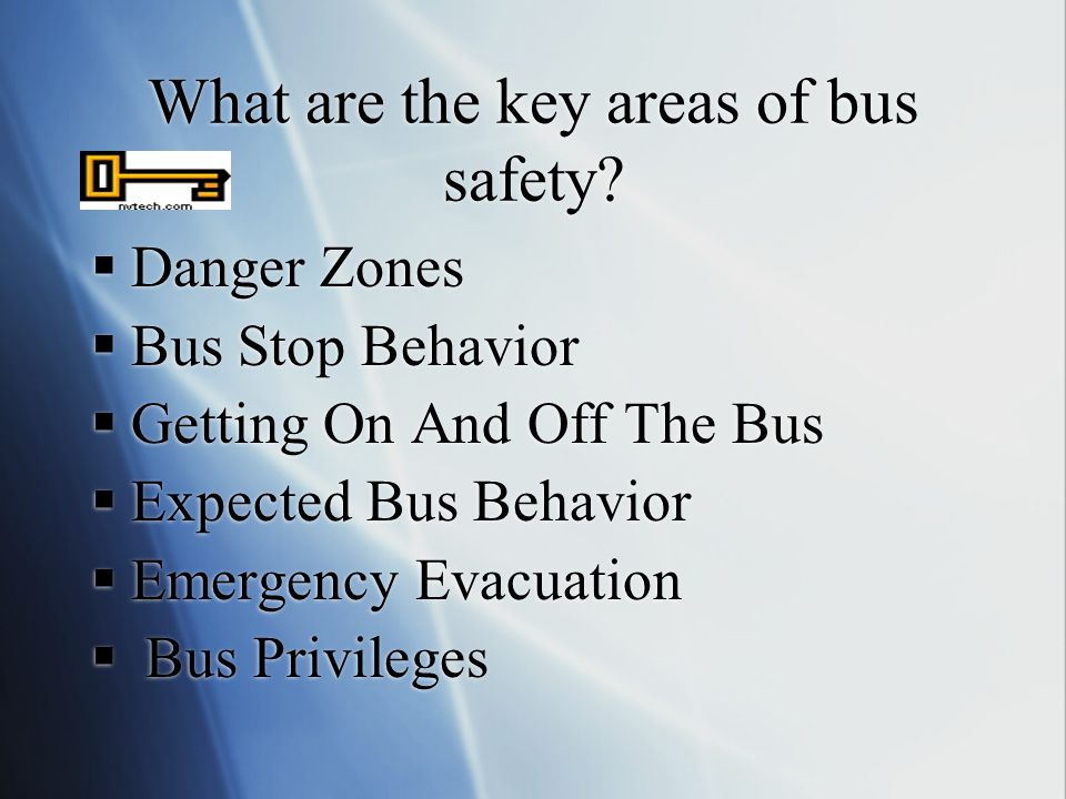 What are the key areas of bus safety