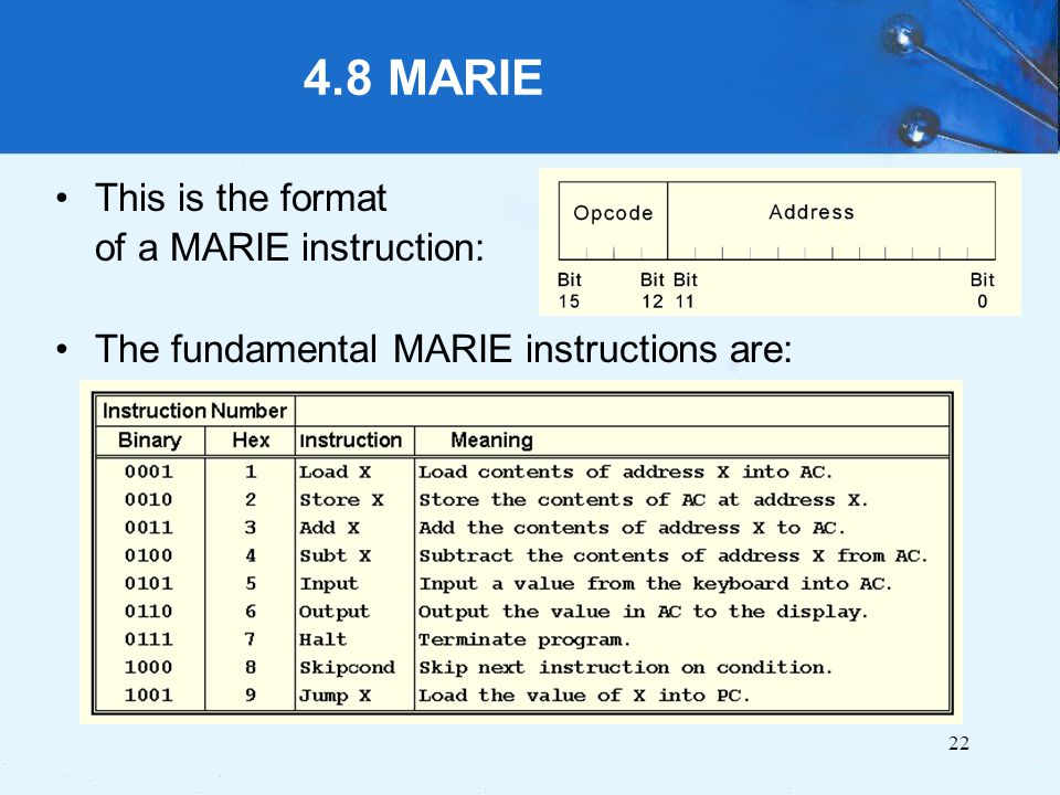 4.8 MARIE This is the format of a MARIE instruction: