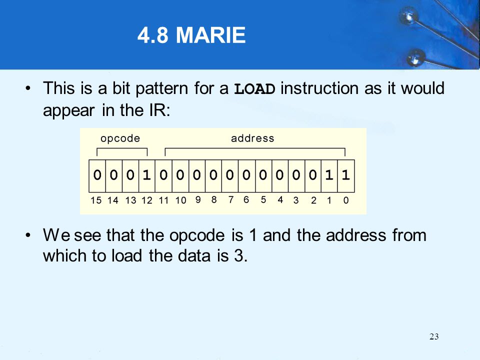 4.8 MARIE This is a bit pattern for a LOAD instruction as it would appear in the IR: