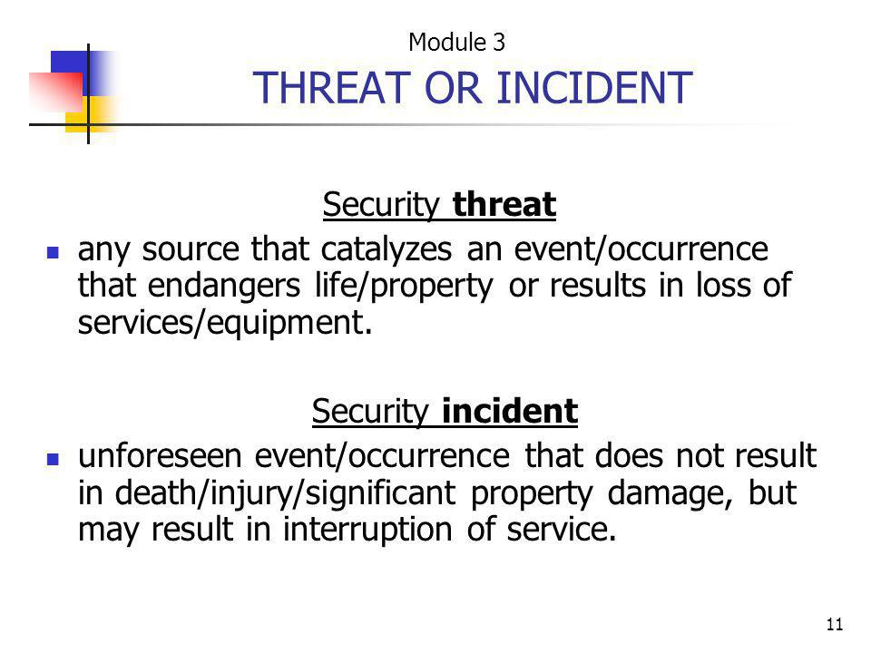 THREAT OR INCIDENT Security threat
