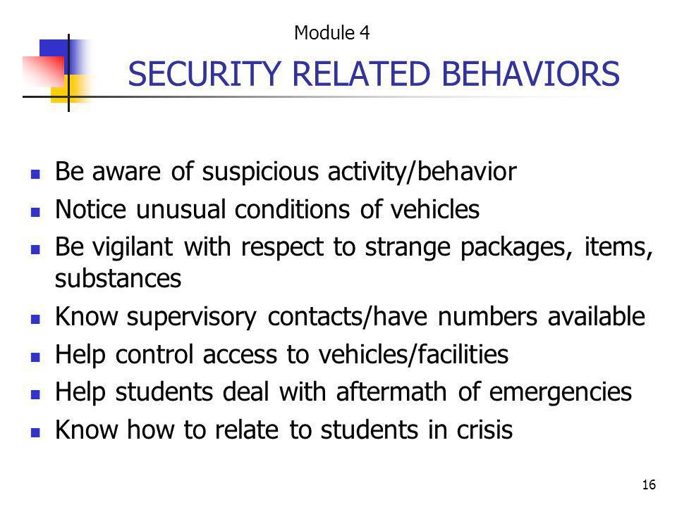 SECURITY RELATED BEHAVIORS