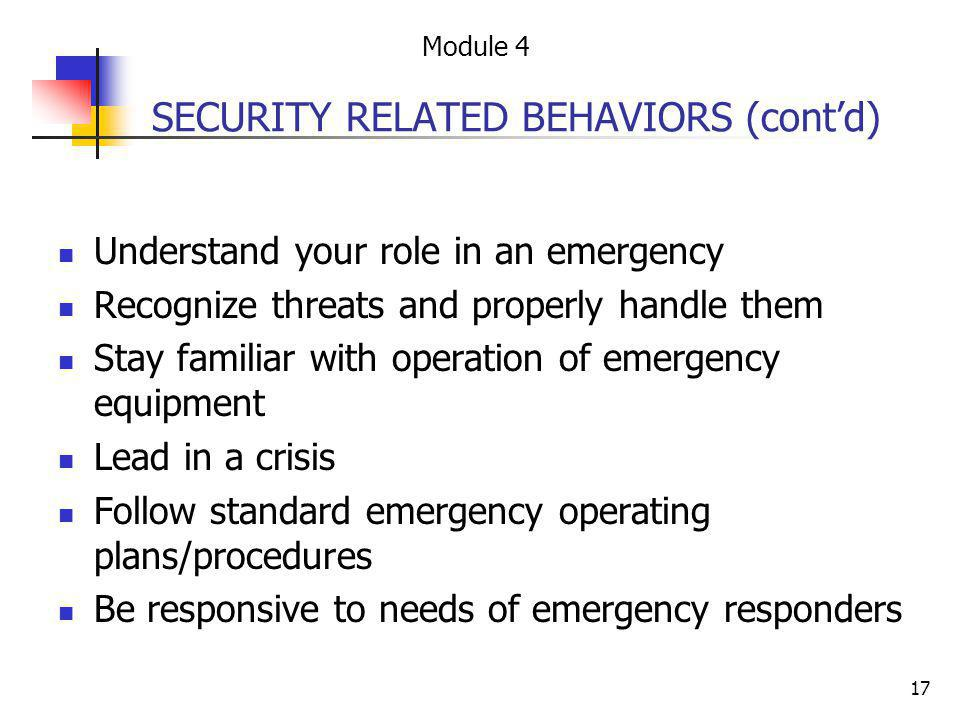 SECURITY RELATED BEHAVIORS (cont'd)