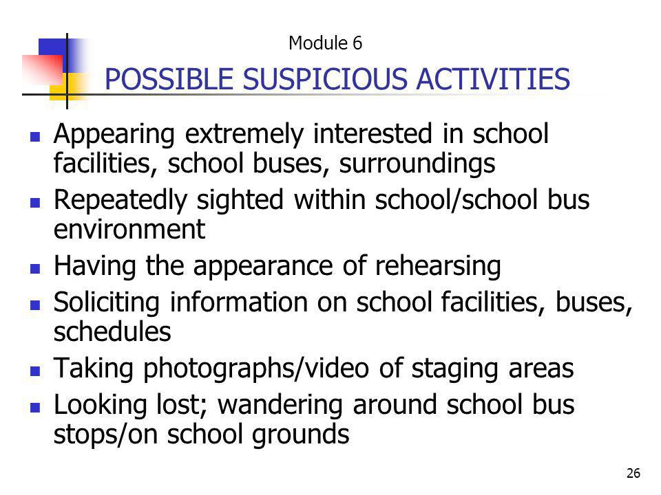 POSSIBLE SUSPICIOUS ACTIVITIES