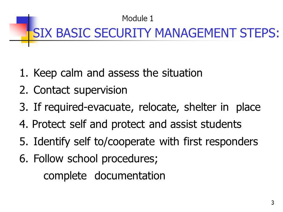 SIX BASIC SECURITY MANAGEMENT STEPS: