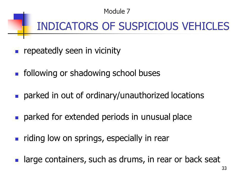 INDICATORS OF SUSPICIOUS VEHICLES