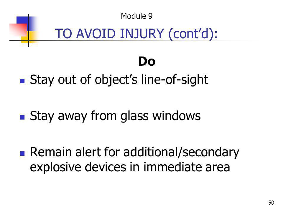 TO AVOID INJURY (cont'd):