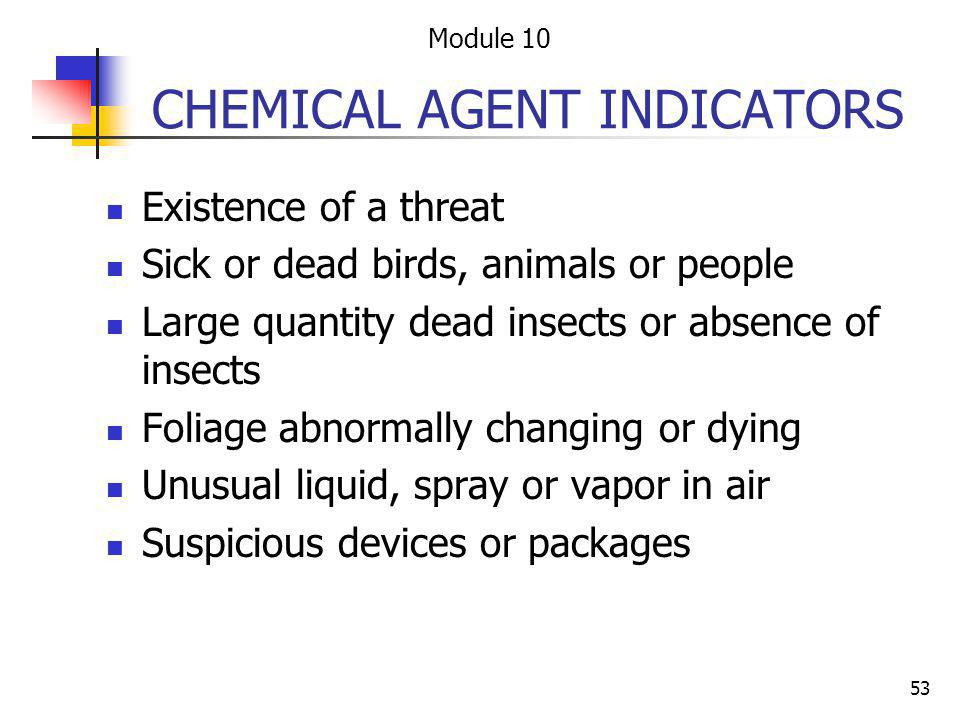 CHEMICAL AGENT INDICATORS
