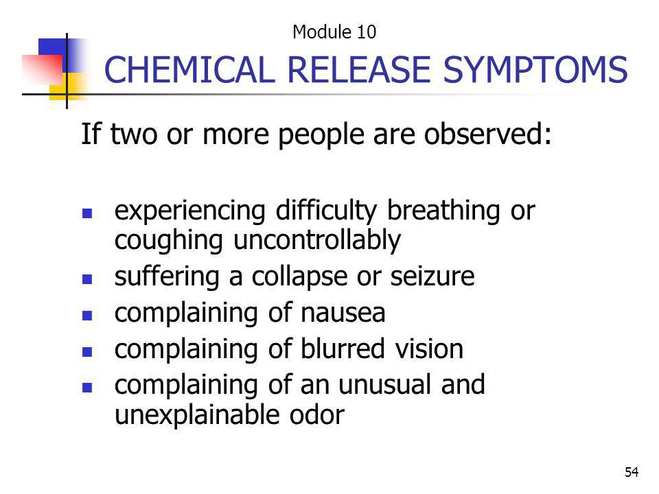 CHEMICAL RELEASE SYMPTOMS