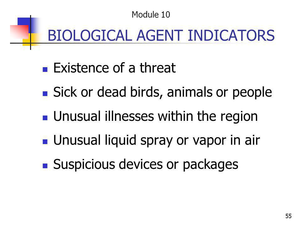 BIOLOGICAL AGENT INDICATORS
