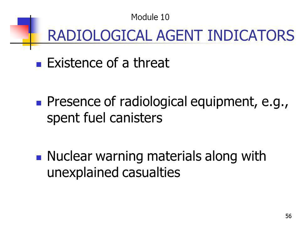 RADIOLOGICAL AGENT INDICATORS