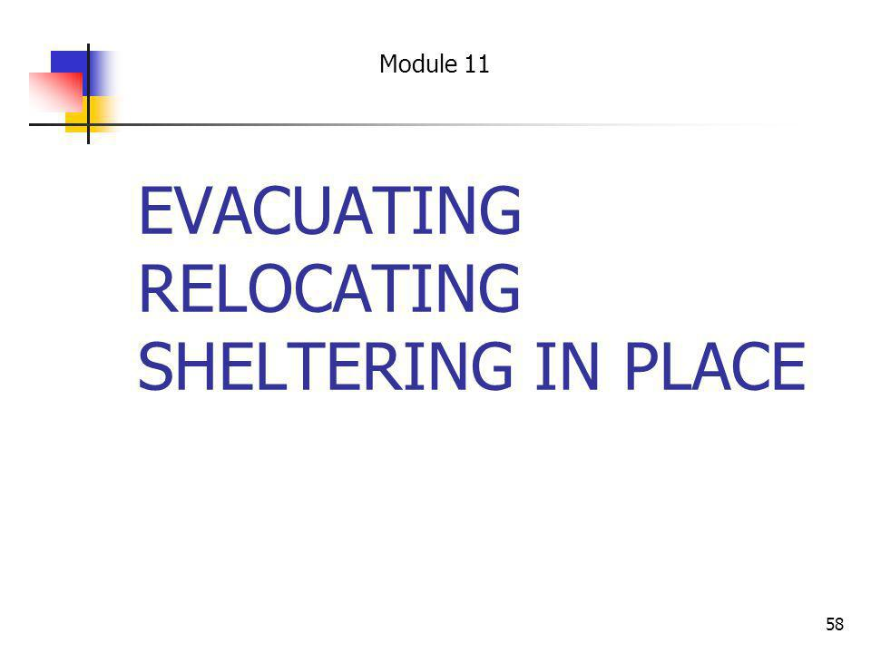EVACUATING RELOCATING SHELTERING IN PLACE