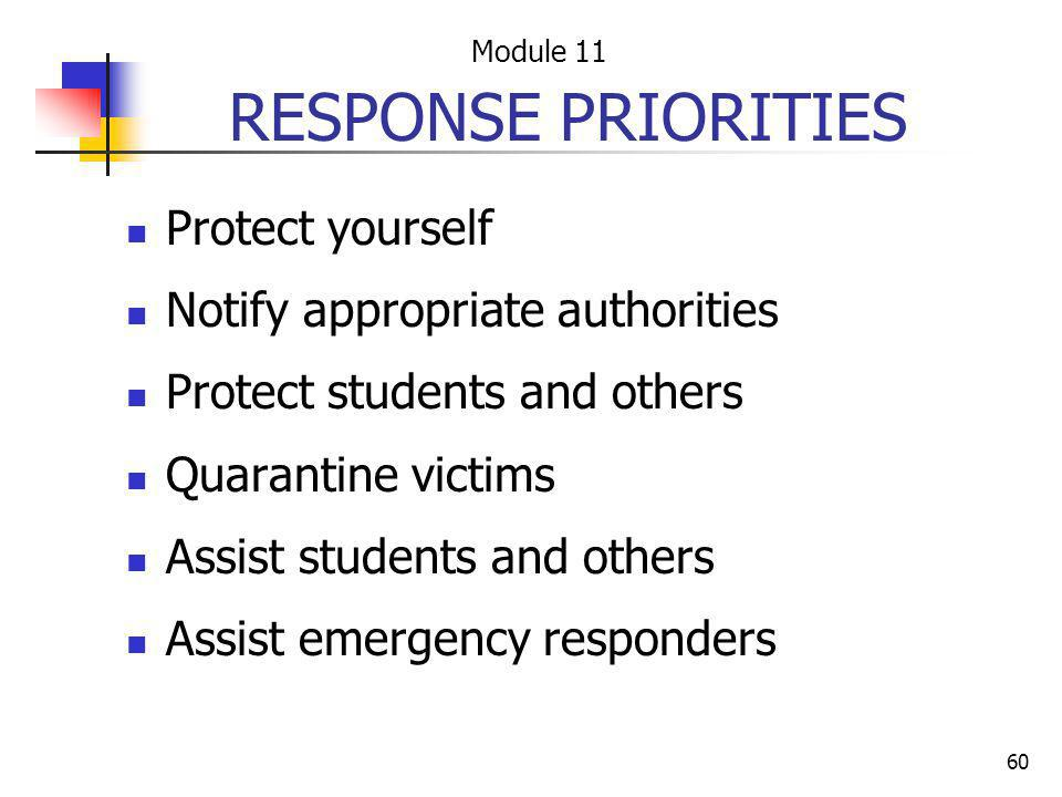 RESPONSE PRIORITIES Protect yourself Notify appropriate authorities