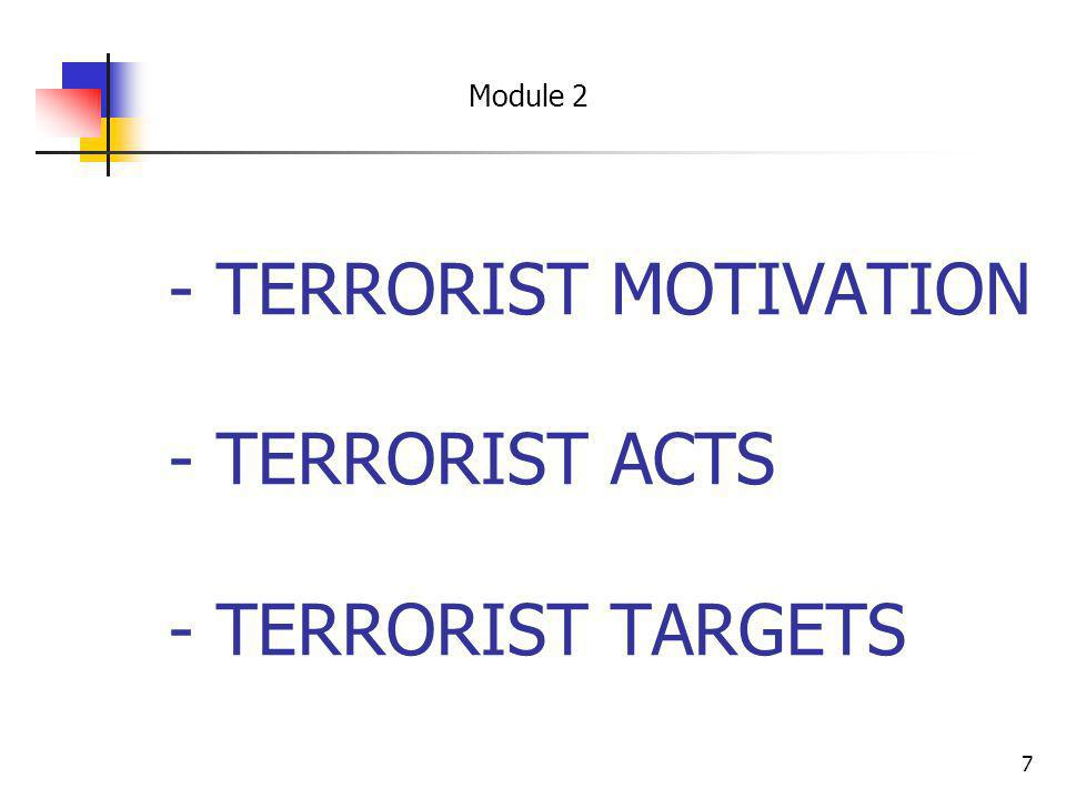 - TERRORIST MOTIVATION - TERRORIST ACTS - TERRORIST TARGETS