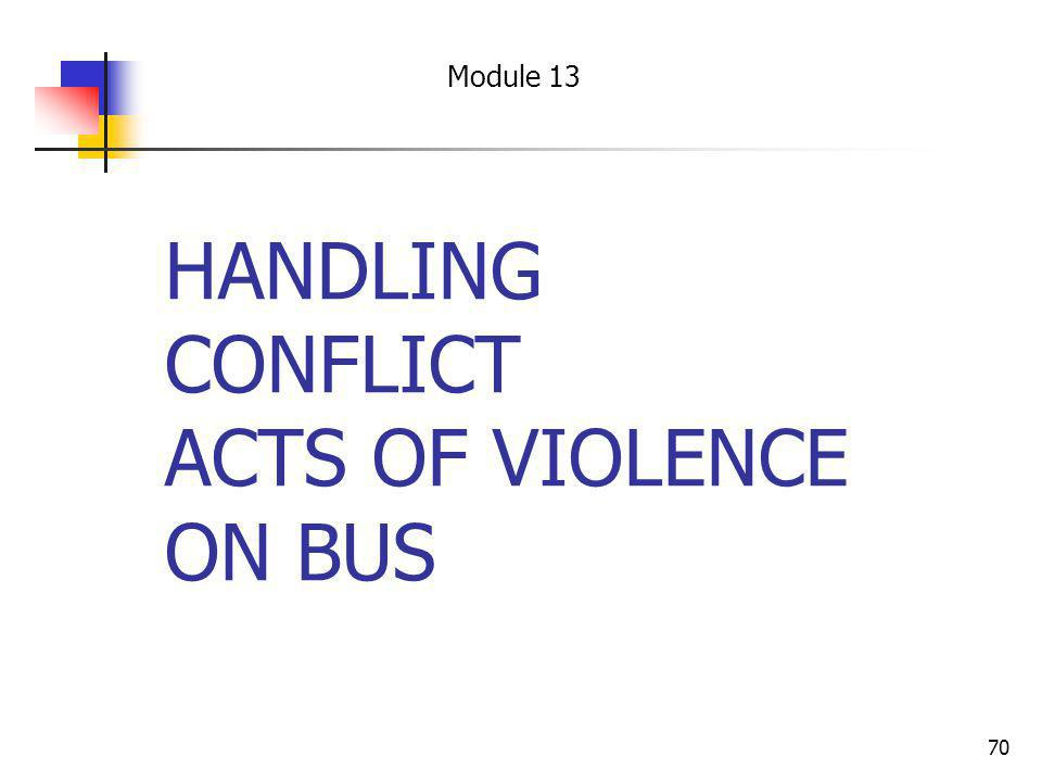 HANDLING CONFLICT ACTS OF VIOLENCE ON BUS