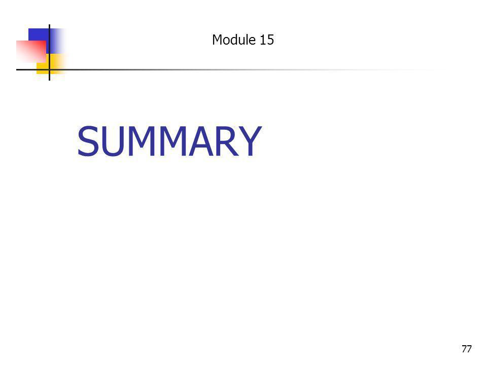 Module 15 SUMMARY