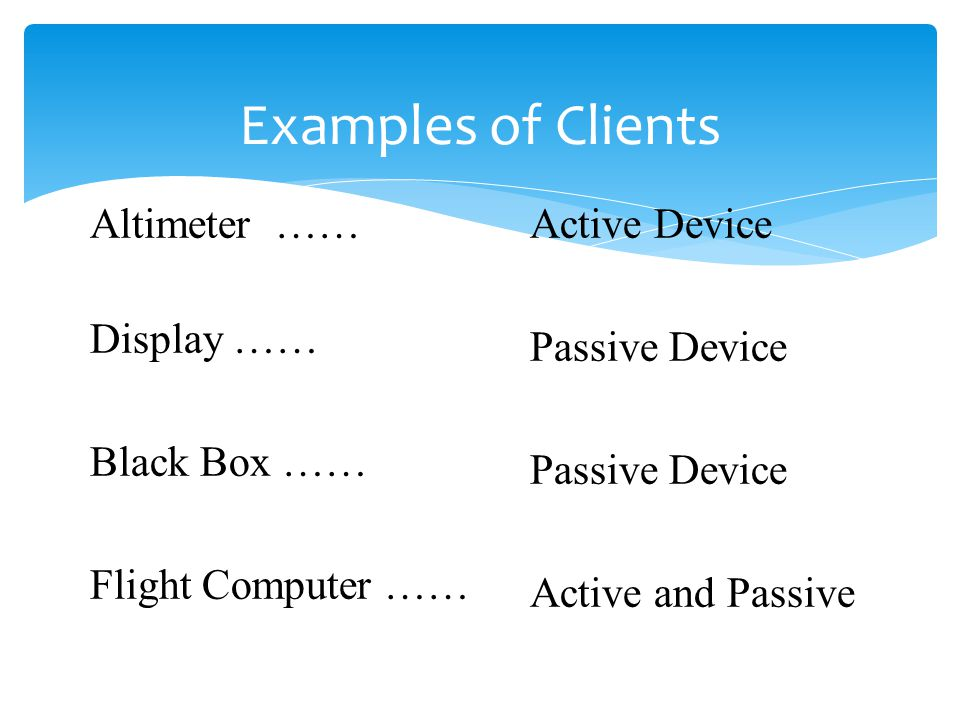 Examples of Clients Altimeter …… Display …… Black Box ……