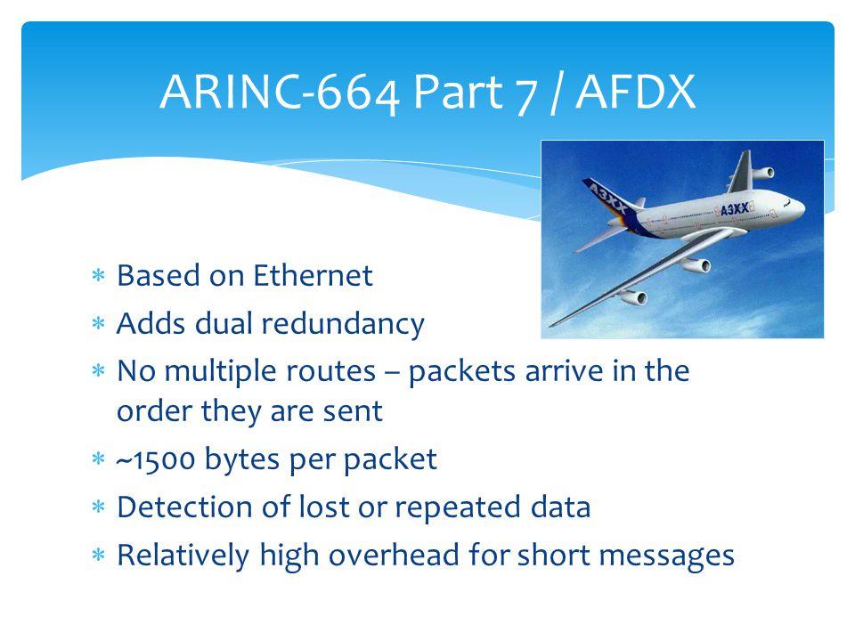 ARINC-664 Part 7 / AFDX Based on Ethernet Adds dual redundancy