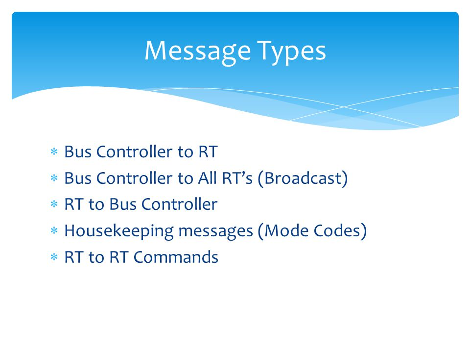 Message Types Bus Controller to RT