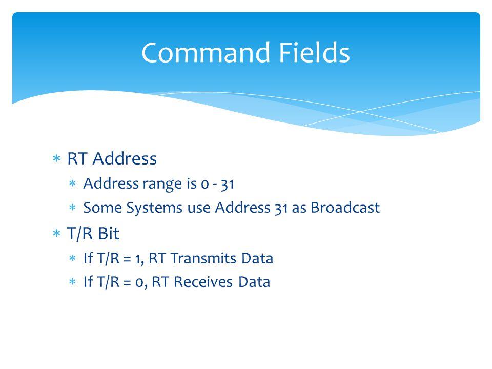 Command Fields RT Address T/R Bit Address range is 0 - 31