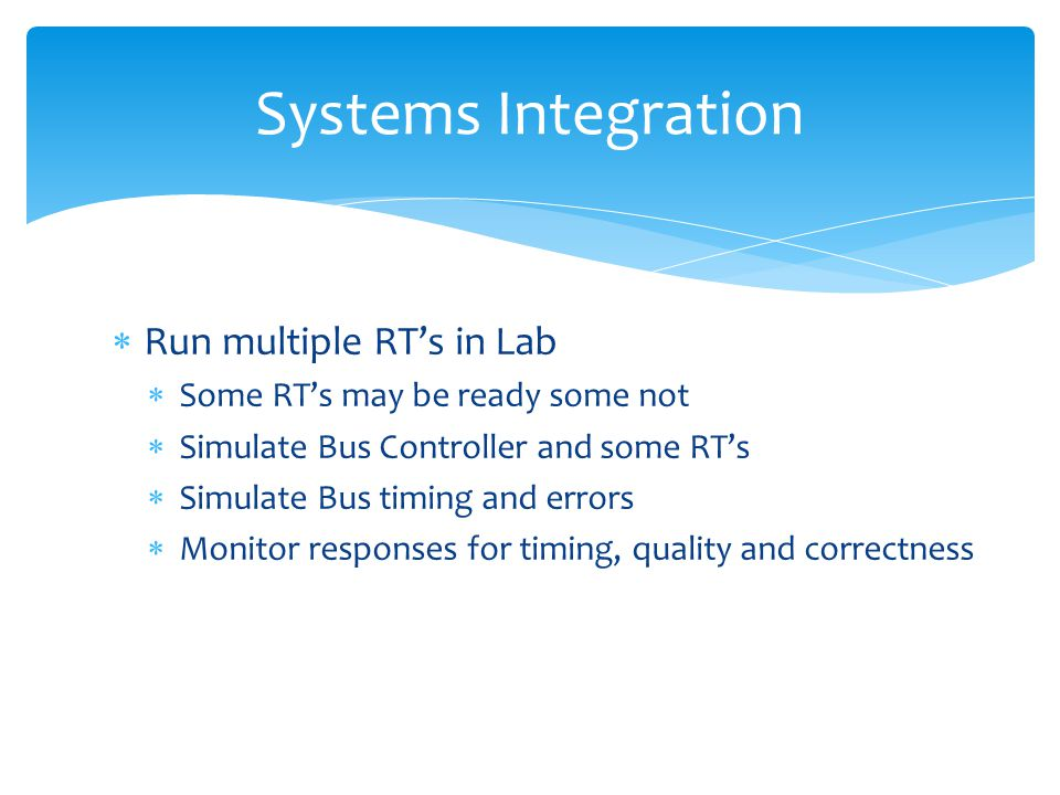 Systems Integration Run multiple RT's in Lab