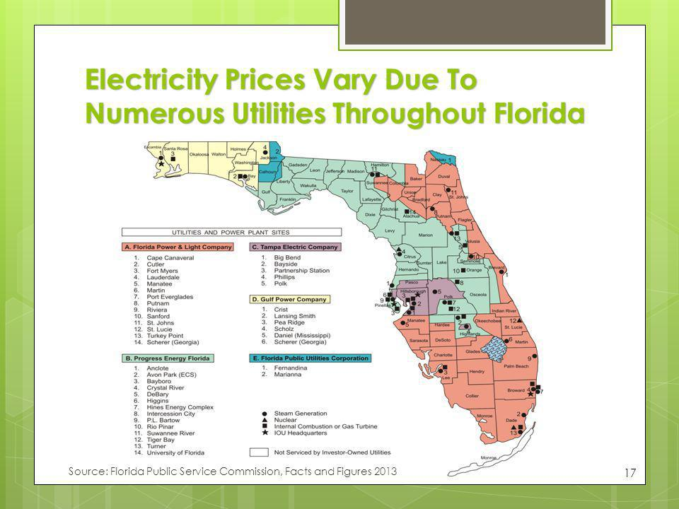 Electricity Prices Vary Due To Numerous Utilities Throughout Florida