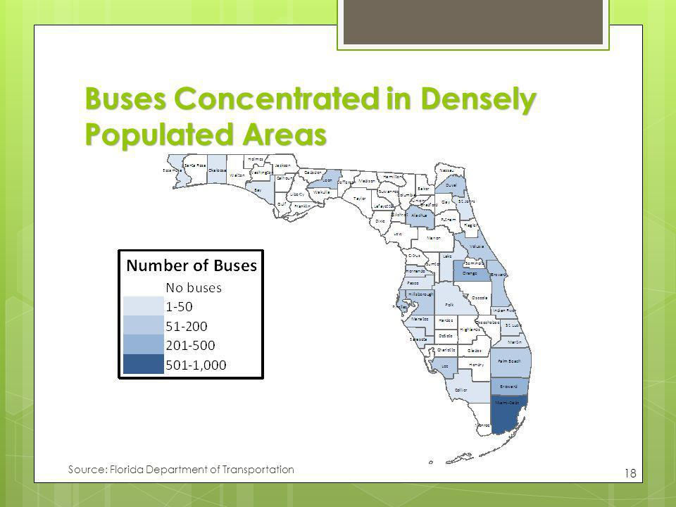 Buses Concentrated in Densely Populated Areas