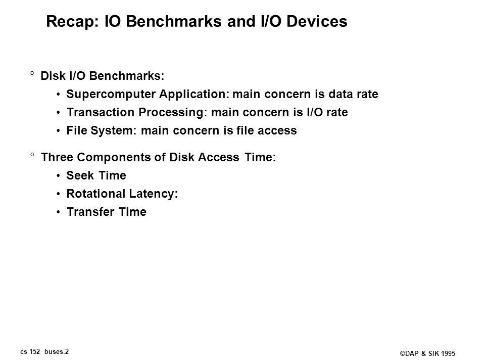 Recap: IO Benchmarks and I/O Devices