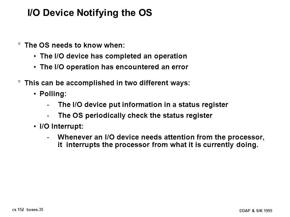 I/O Device Notifying the OS