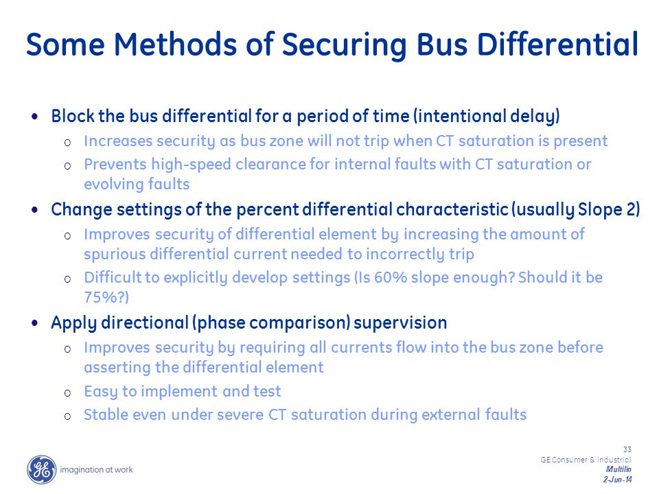 Some Methods of Securing Bus Differential