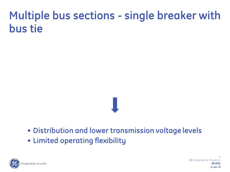 Multiple bus sections - single breaker with bus tie