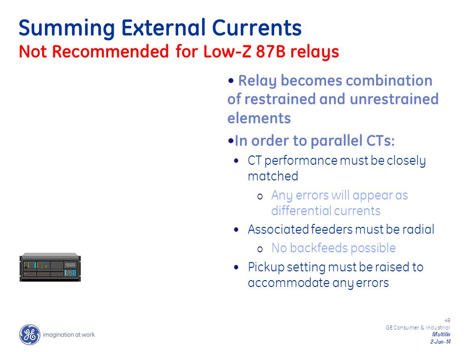Summing External Currents Not Recommended for Low-Z 87B relays
