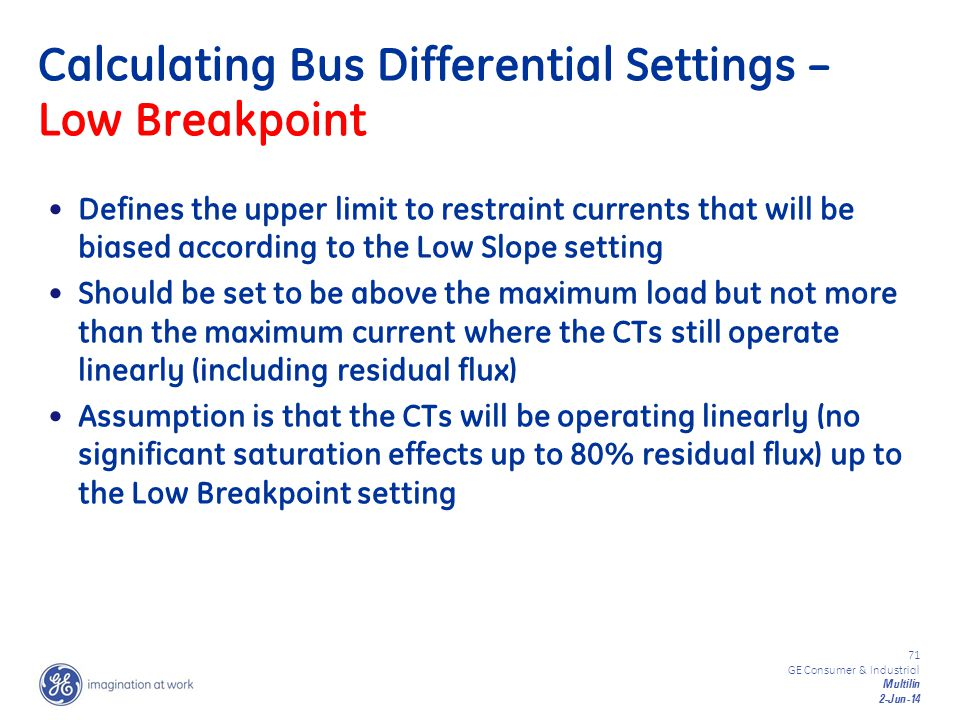 Calculating Bus Differential Settings – Low Breakpoint