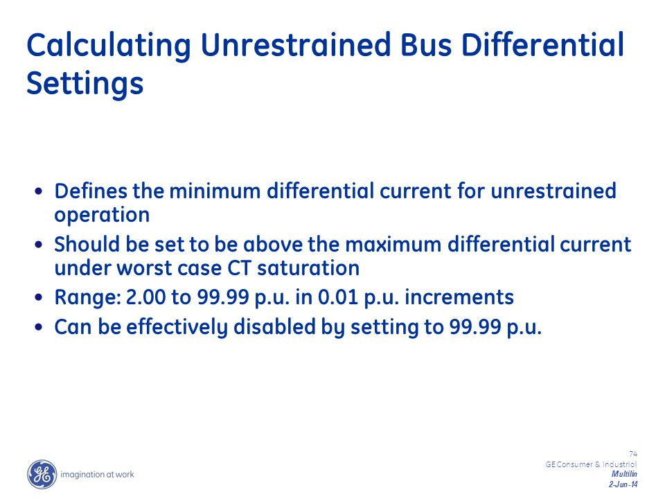 Calculating Unrestrained Bus Differential Settings
