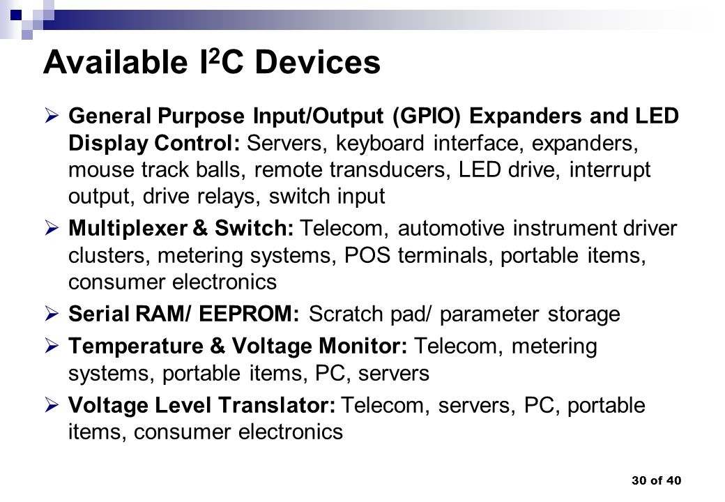 Available I2C Devices