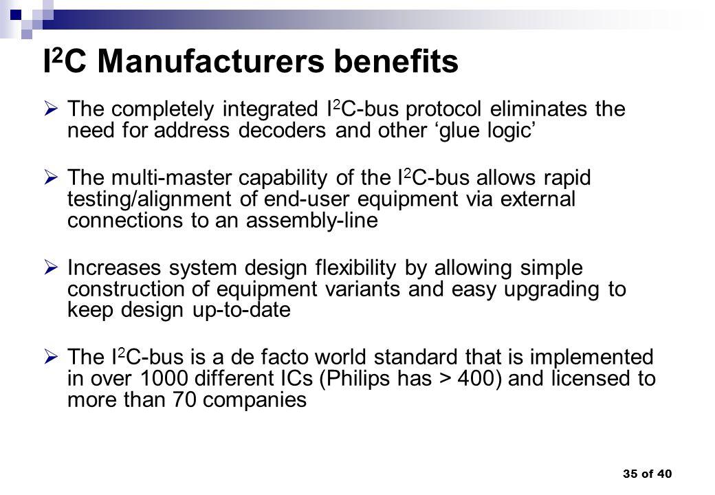 I2C Manufacturers benefits