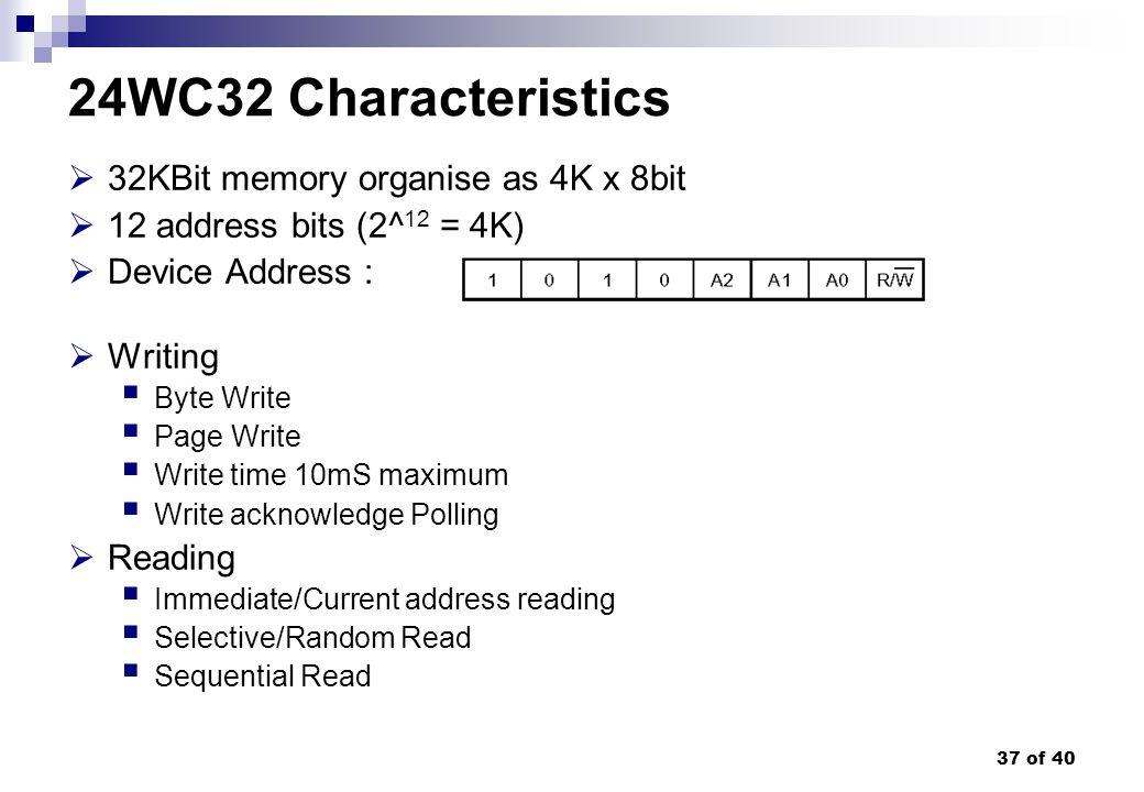 24WC32 Characteristics 32KBit memory organise as 4K x 8bit