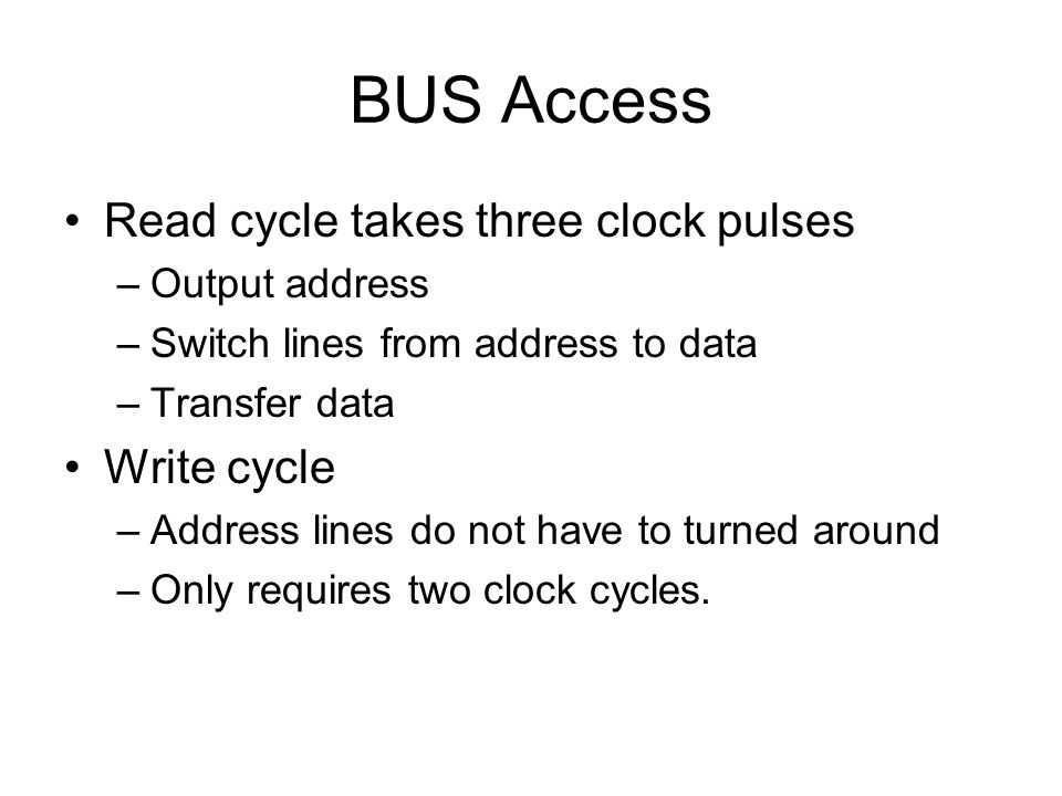 BUS Access Read cycle takes three clock pulses Write cycle