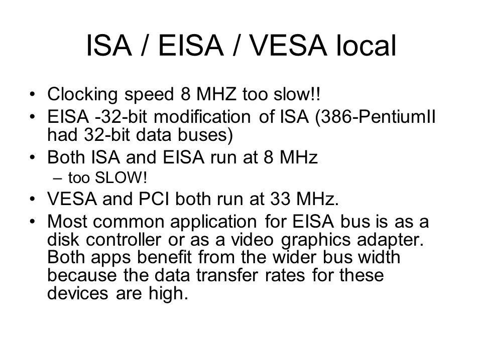 ISA / EISA / VESA local Clocking speed 8 MHZ too slow!!