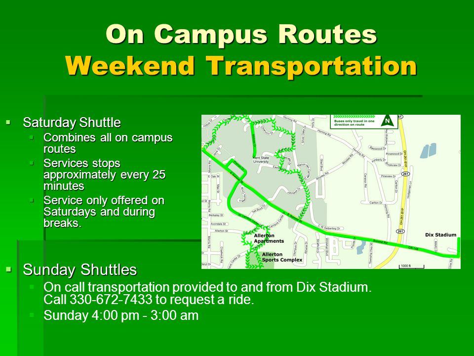 On Campus Routes Weekend Transportation