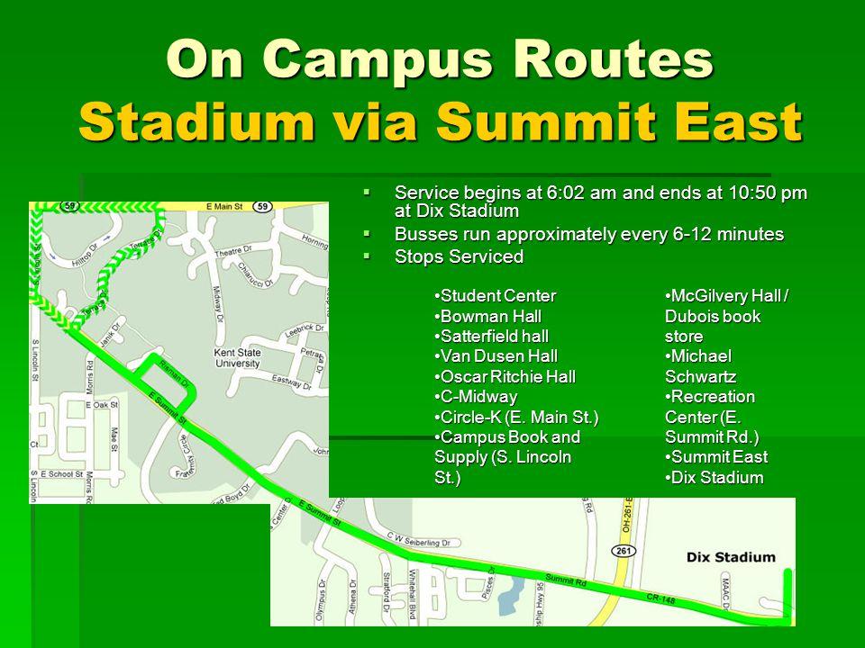 On Campus Routes Stadium via Summit East