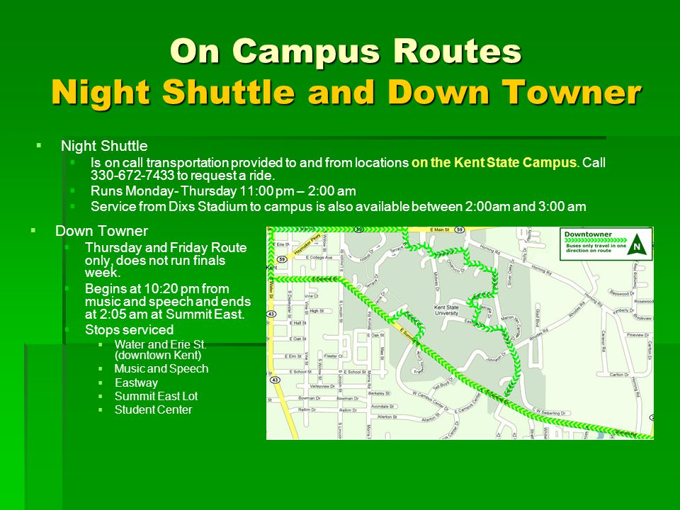 On Campus Routes Night Shuttle and Down Towner