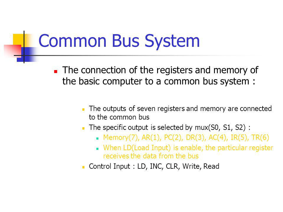 Common Bus System The connection of the registers and memory of the basic computer to a common bus system :