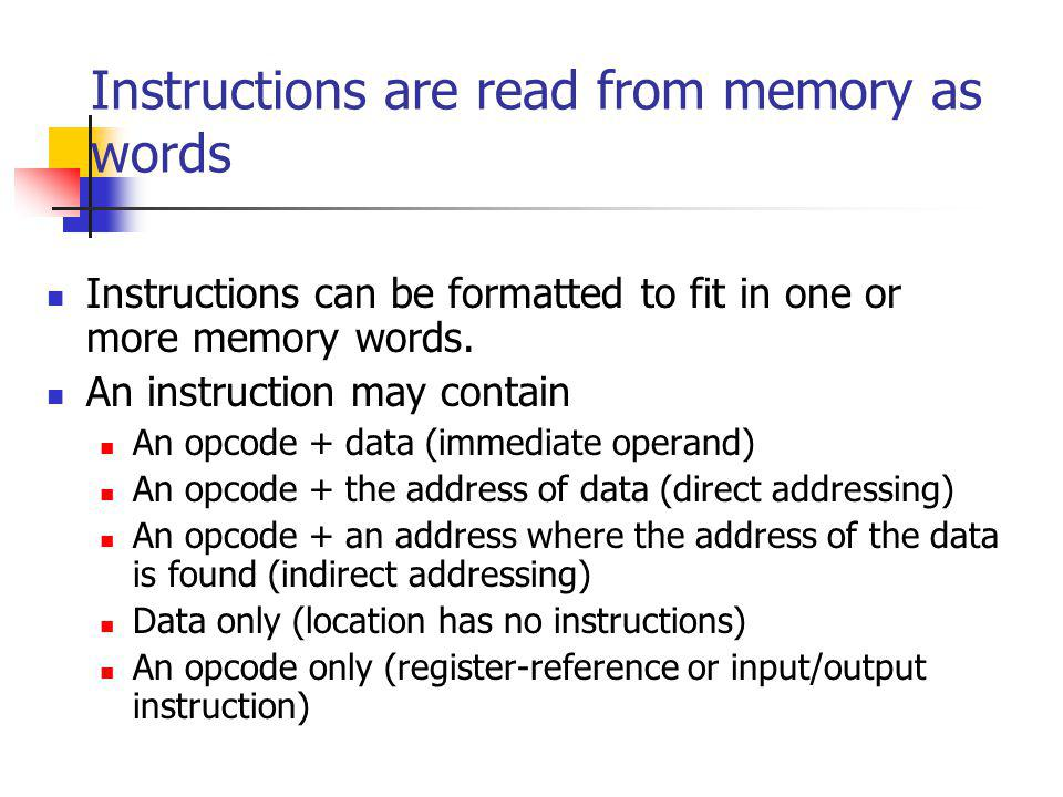 Instructions are read from memory as words