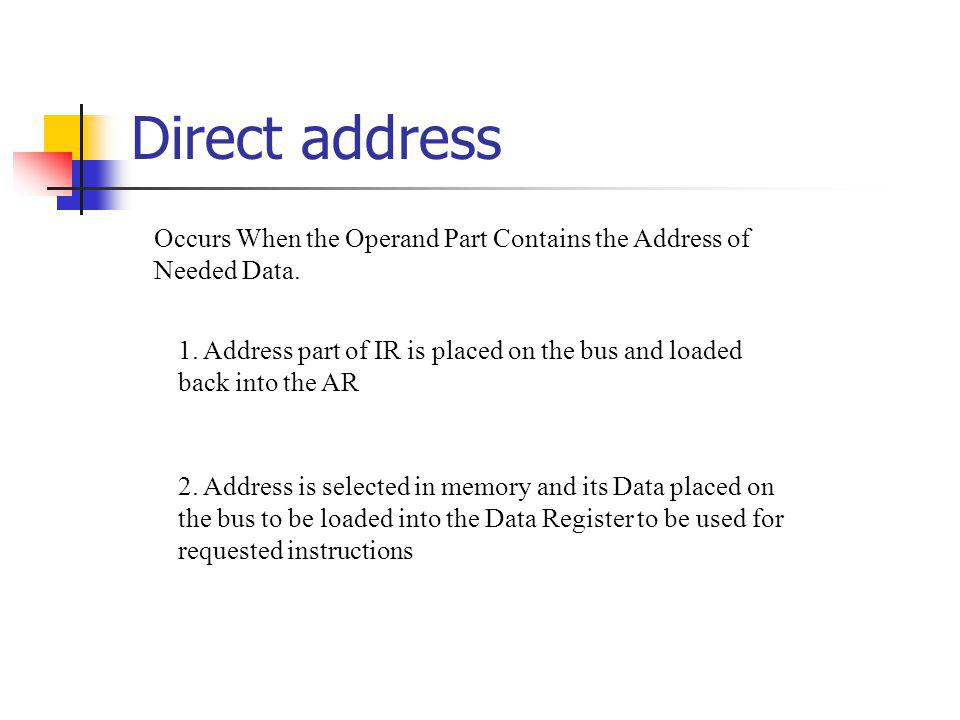 Direct address Occurs When the Operand Part Contains the Address of Needed Data.