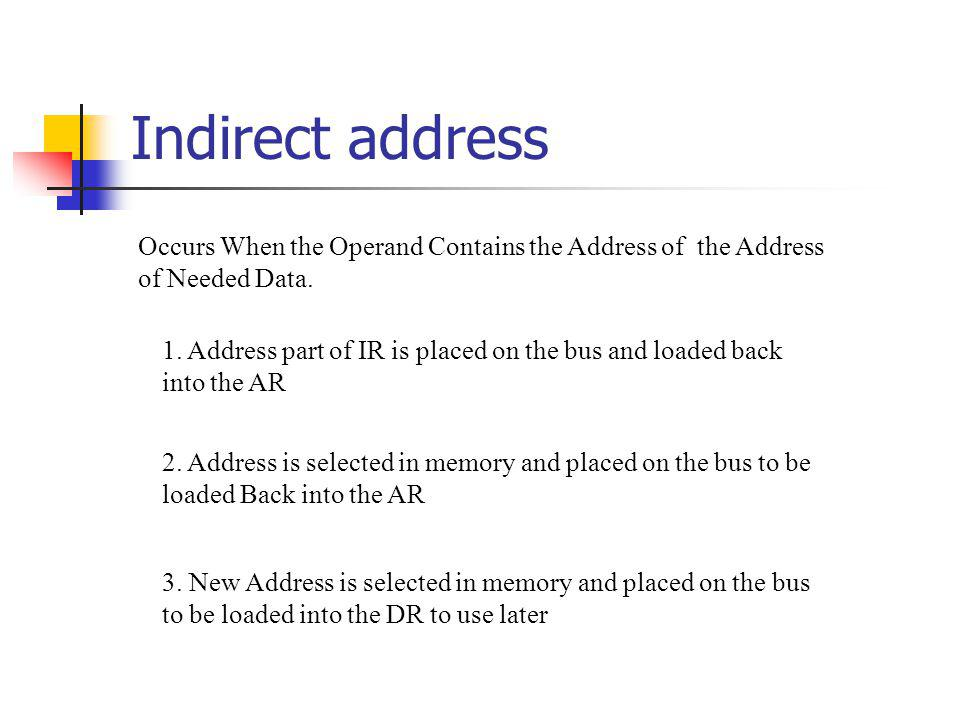 Indirect address Occurs When the Operand Contains the Address of the Address of Needed Data.