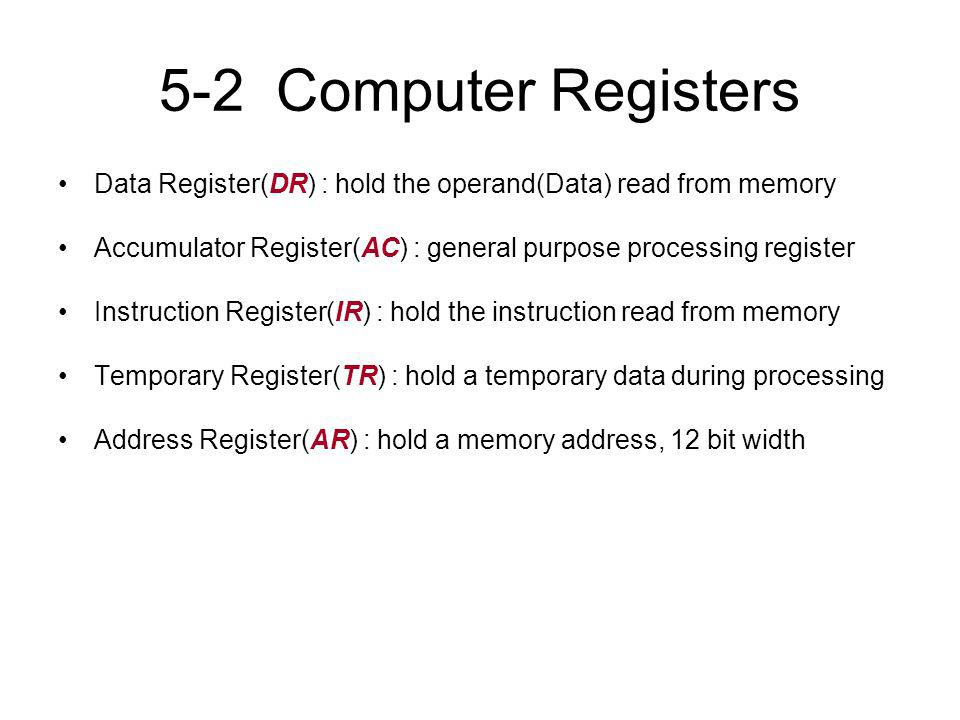 5-2 Computer Registers Data Register(DR) : hold the operand(Data) read from memory. Accumulator Register(AC) : general purpose processing register.