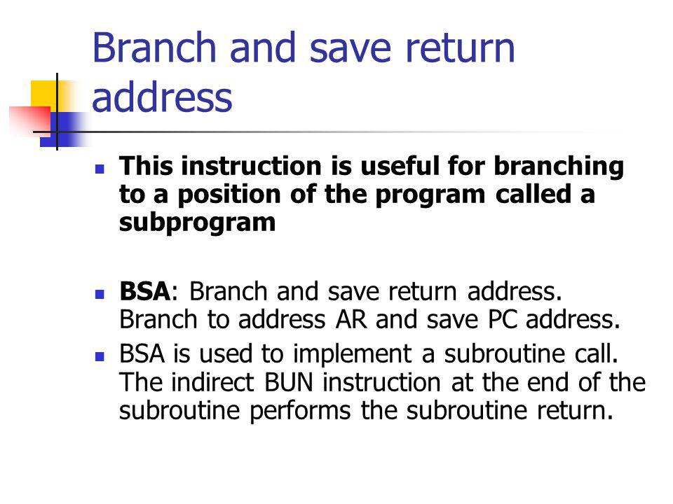 Branch and save return address
