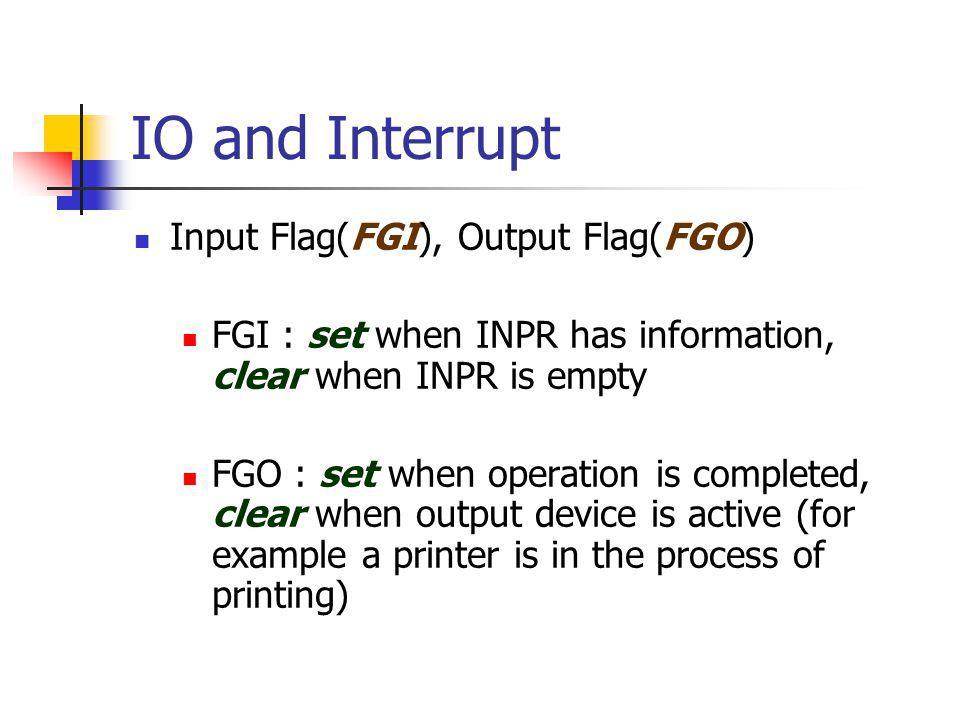 IO and Interrupt Input Flag(FGI), Output Flag(FGO)