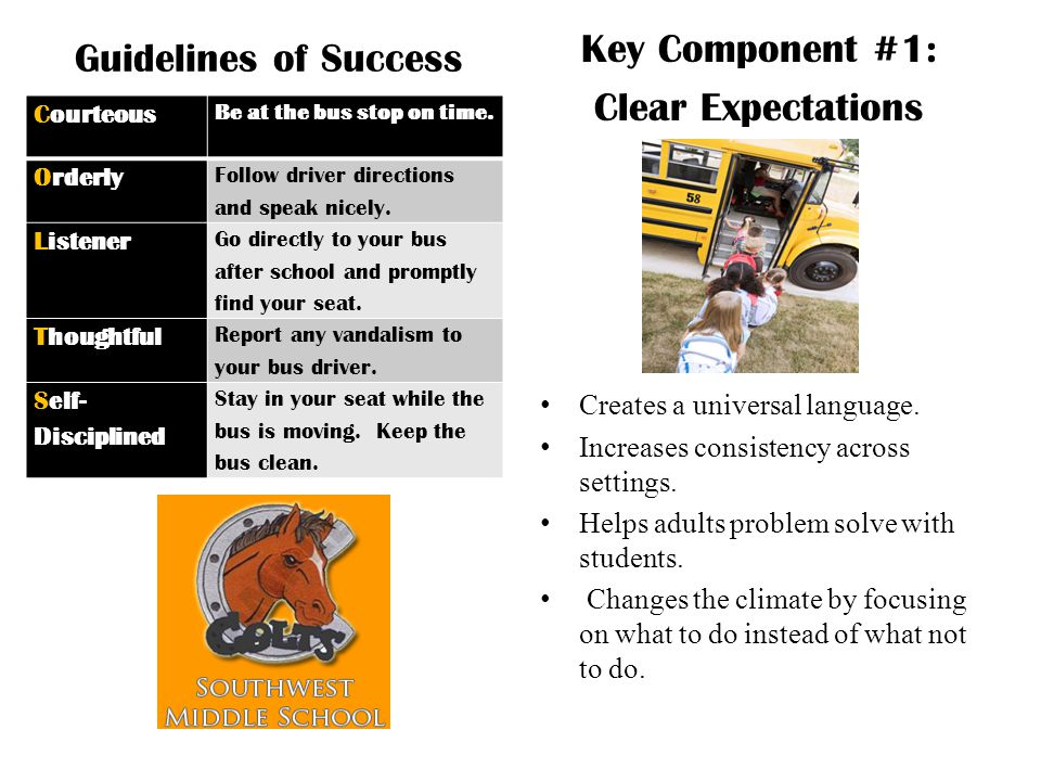 Key Component #1: Guidelines of Success Clear Expectations